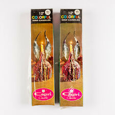 """4 Vintage Colorful Color Drip Wax Candles 12"""" Long 2 Boxes by Capri Candles Nos"""