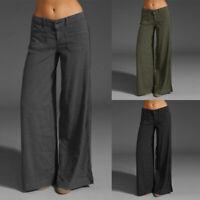 ZANZEA Femme Pantalon Taille basse Boutons Ample Poches Jambes larges Long Plus