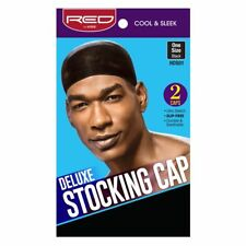RED BY KISS COOL & SLEEK DELUXE STOCKING CAP ONE SIZE BLACK 2PCS ULTRA STRETCH