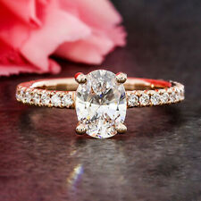 1.8 Carats Oval Cut Moissanite Engagement Ring in 9k Solid Rose Gold