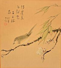 Antique Original Vintage Signed Chinese Floral Bird Portrait Watercolor Painting
