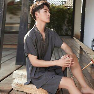 New Chinese Japanese Mens Dark Grey Shorts Kimono Pyjamas Pajamas menpjs52
