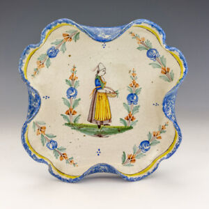 Antique Quimper French Faience - Hand Painted Breton Lady Decorated Bowl
