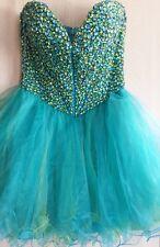 SHERRI HILL Crystal Gemstone Beaded Pageant Tulle Layers Tutu Skirt Mini Dress 8