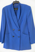 LOUIS FERAUD Royal Blue 100% Wool Skirt & Double-Breasted Jacket Set Size 8