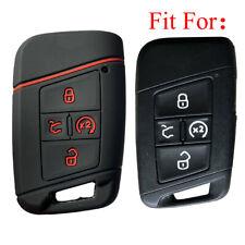 Fit VW 2021 Atlas Jetta 4 Button Smart Remote Key Fob Silicone Case Cover Black