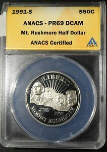"1991-S MT. Rushmore Half Dollar ""ANACS PR69 DCAM"" *Free S/H After 1st Item*"