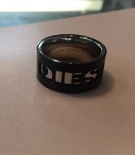 Diesel Men Black IP Stainless Steel Logo Ring Size 9