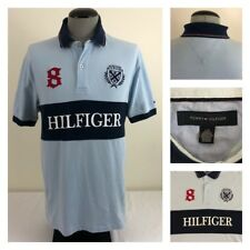 Tommy Hilfiger Rugby #8 Mens L Blue Color Block Spell Out Pullover Shirt