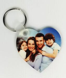 Personalised Custom Picture Heart Shape Keyring Any Photo Image Double Sided