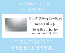 """5 x 12"""" x 9"""" Inch 3mm Thick Oblong Rectangular Cake Board"""