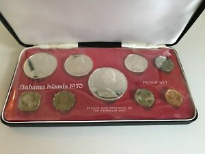 1970 Coinage of the Bahama Islands; 9 Coin Proof Set by Franklin Mint w/ COA