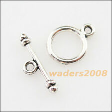 30 New Connectors Necklace Smooth Circle Toggle Clasps Tibetan Silver Tone
