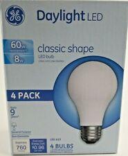 New GE Lighting A19 LED Bulb Daylight 60 Watt 4 pack 760 Lumens Standard
