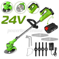 24V Electric Cordless Grass Trimmer Heavy Duty Garden Weed Lawn Strimmer Cutter