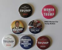6 Pack Trump 2020 Campaign Buttons – Free Women for Trump (2.25 inches)