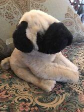 "KATHY VAN ZEELAND Plush Pug Dog Puppy Tan Black w/ Blue ribbon  9"" #1W"