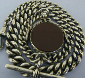 Antique Victorian Solid Silver Albert Pocket Watch Chain & Spinner Fob Bir 1890
