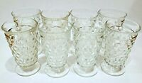 """8 Vintage Indiana Whitehall Colony Cubist Cube Clear Glass Ice Tea Tumblers - 6"""""""