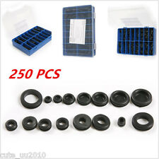 250pcs Rubber Grommet Firewall Hole Plug Set Wire Gasket Assortment With Box 18S