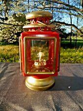 Antique Vintage Fire Engine Red & Gold Kerosene Beacon Lantern Lamp �� ts17j