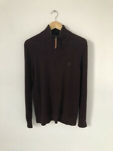 Size Small Fat Face Maroon Cotton Cashmere Knit Pullover Quarter Zip
