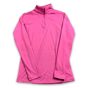 Nike Pro Combat Dri Fit Fitted Women Pink 1/4 Zip Pullover Top Thumb Hole Medium