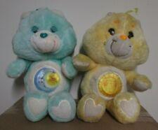 """2 Care Bear Plush 13"""" Funshine & Bedtime Vintage Plush 1983 Kenner Sun Moon"""