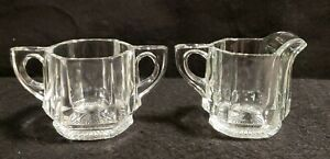 Vintage Clear Cut Glass Creamer & Sugar Set, Ribbed Design, Handles, Starburst