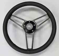 "14 3/4"" Bronco F100 F150 F250 F350 Truck Black Leather Steering Wheel Ford Cap"