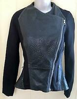 TED BAKER WOMENS BLACK LEATHER BIKER JACKET W/STRETCH MATERIAL ARMS - SIZE 1