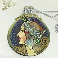 Gems en Vogue Hand-Painted Mother of Pearl Maiden Warrior Pendant SS Chain