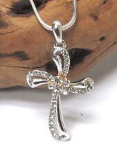 White Gold Christian Cross Crystal Rhinestone Necklace Quality Fast Ship USA
