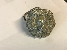 Lion's Head TG23 Fine English Pewter on a Scarf Ring