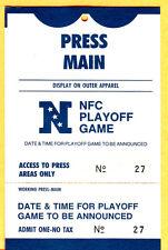 1990 NFL PLAYOFFS! 1/6/91 BEARS/SAINTS FOOTBALL PRESS PASS