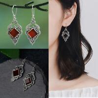 Damen Silber Rubin Ohrringe Roter Achat Baumel Haken Ohrringe Hochzeitsschmuck