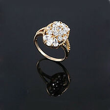 Luxury 18k Gold Plated Oval Cubic Zircons CZ large 18 mm Q size bridal Ring FR14