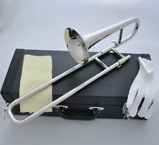 Top JINBAO Silver nickel Bb Slide Trumpet 4.74'' bell Mini Trombone Leather case
