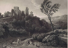 VIEW OF LA RICCIA By Gaspar Poussin - National Gallery 1836 Steel Engraving