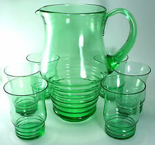 Retro  Green JUG Funky Pitcher JUG Beehive 6 GLASSES SET Cocktail Lemonade