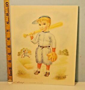 Nice Metalcraft Baseball Boy Embossed Plastic Picture Artist Charlotte & Frame