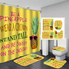 Pineapple Yellow Shower Curtain Bath Mat Toilet Cover Rug Bathroom Decor