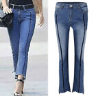 Women Stretchy Denim Slim Boot Cut Jeans Skinny Pants Fashion Cropped Trousers