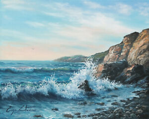 J. Litvinas Original Oil Painting 'COASTAL ROCKS' 10 by 8 inches