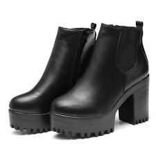 Fashion Women Chunky Platform Ankle Boots Heel High Chelsea Slip On Bootie Shoes