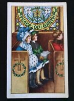 Children in Church~Antique Embossed~Christmas Postcard-s224