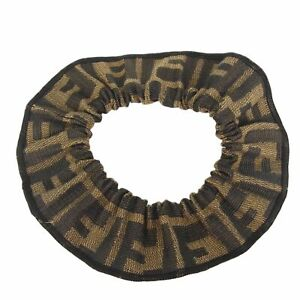 Auth FENDI Logos Zucca Canvas Hair Band Rope Scrunchie Accessory F/S 18923bkac
