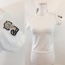Rare! brandy melville white cropped jamie Cat embroidered graphic top NWT S/M
