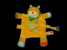 Doudou plat Tigre Lion jaune vert bleu orange Nicotoy feuille attache tétine