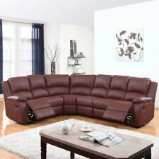 Large Sectional Sofa Leather Couch 2 Reclining Seats Home Theater Seating, Brown